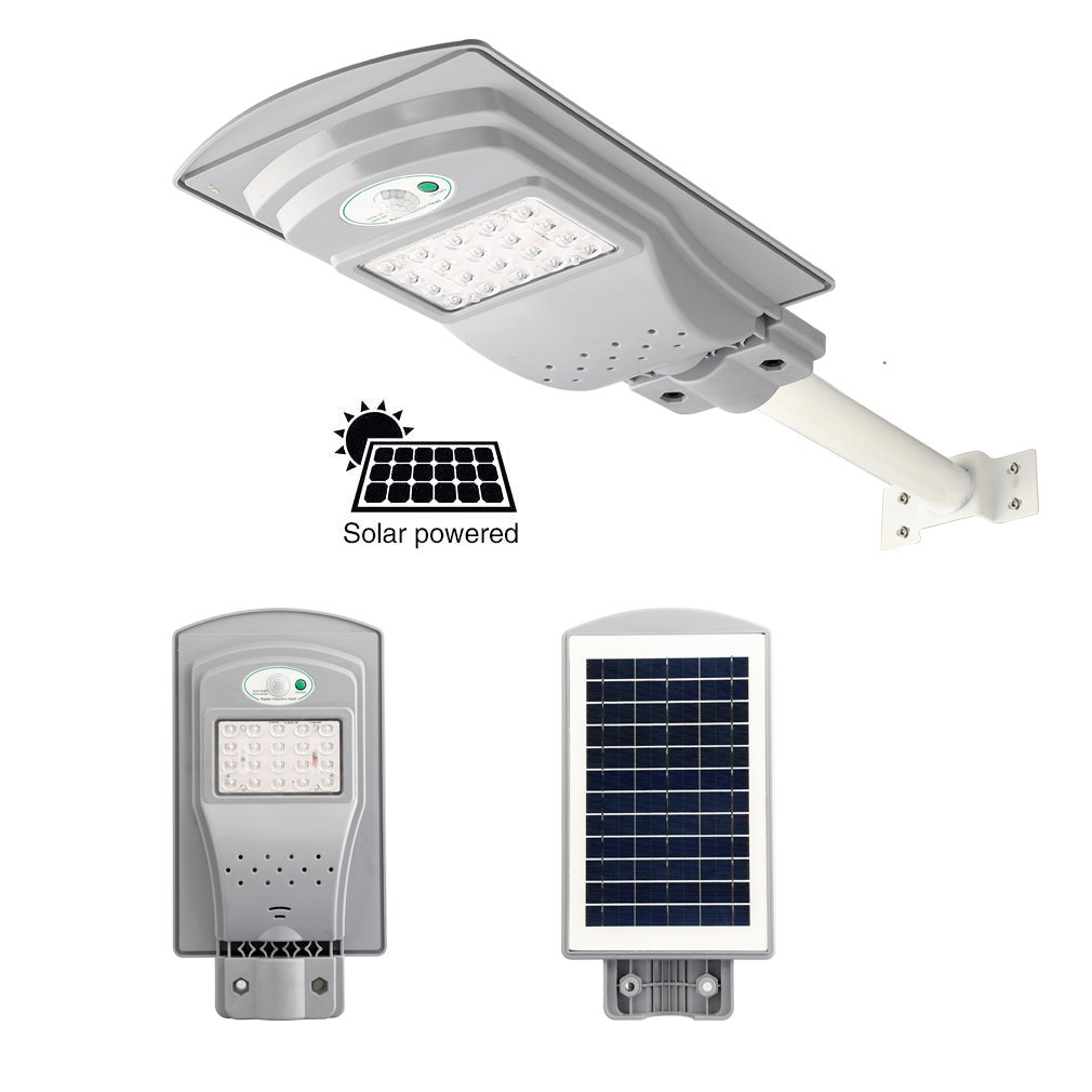 Solar Street Light Outdoor, 20W Super Bright Solar Power LED Street Lights Outdoor Dusk to Dawn with Motion Sensor, Security Night Area Lighting 2000 Lumen