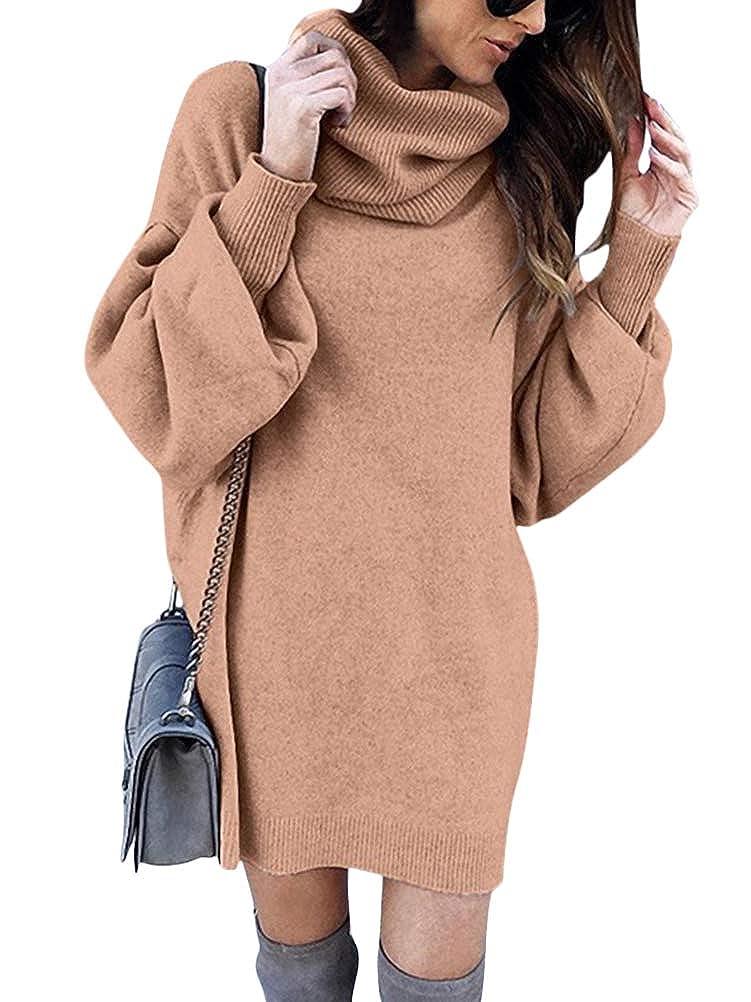 Minetom Damen Pullover Kleid Rollkragen Minikleid Winterkleid Strickkleid Warm Langarm Oversize Stricksweat Strickpullover Lose Sweatkleid