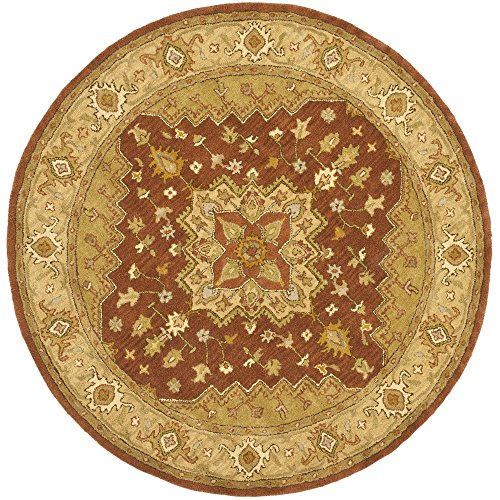 Safavieh Heritage Collection HG345A Handcrafted Traditional Oriental Rust and Gold Wool Square Area Rug 6 Square