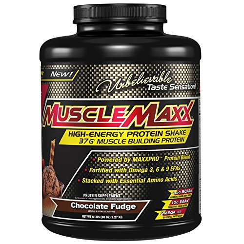 MuscleMaxx, High Energy + Muscle Building Protein, Chocolate Fudge, 5 lb (2.27 kg) - 3PC by MuscleMaxx
