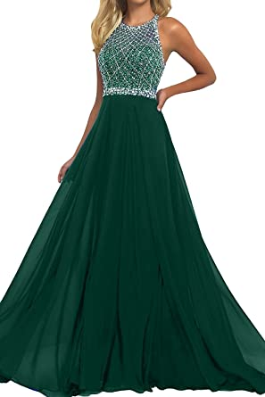 Womens Halter Chiffon Evening Prom Dress Green Heavy Beaded Bodice Backless Party Gown US2
