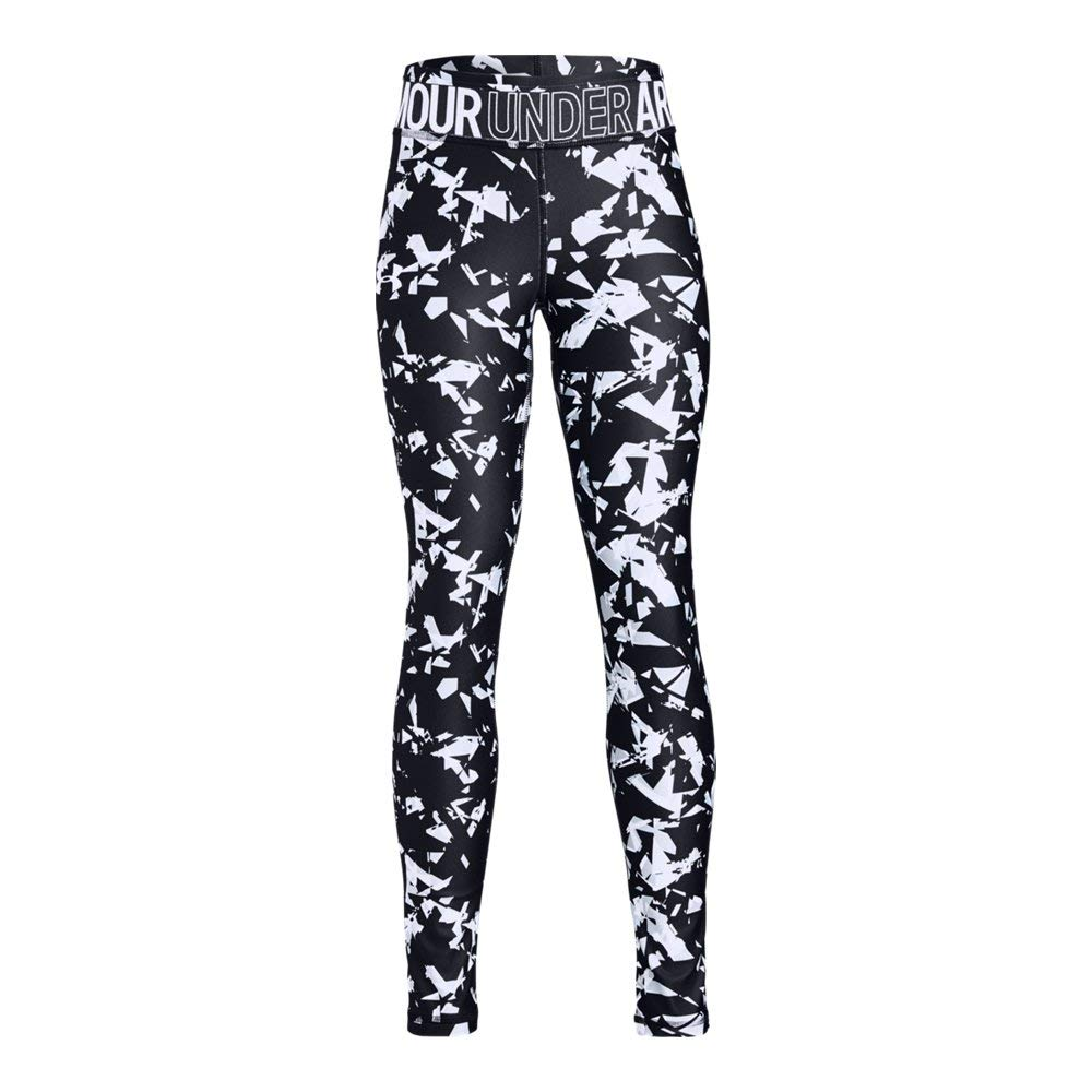 Under Armour Girls Youth Headgear Novelty Leggings,  Black (003)/White,  Youth X-Small by Under Armour