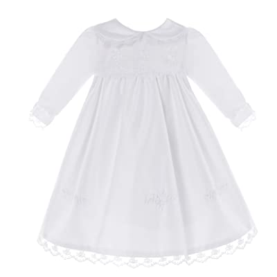 NIMBLE Baby Girl Newborn Christening Long Sleeves Lace Satin Gown Dress 0-9M