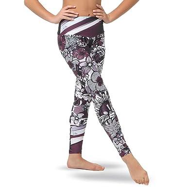 a999e47851893 Alexandra Collection Womens Mid-Waist Plum Blossom Athletic Workout  Leggings Plum X-Small