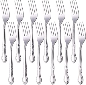 QIBOORUN Stainless Steel Kitchen Dinner Forks 12-Piece Dinner Fork Set 7.3-inch Stainless Steel Table Forks Classic Flatware Silverware Sets Cutlery Utensils Dinnerware with Flower Edge -Silver