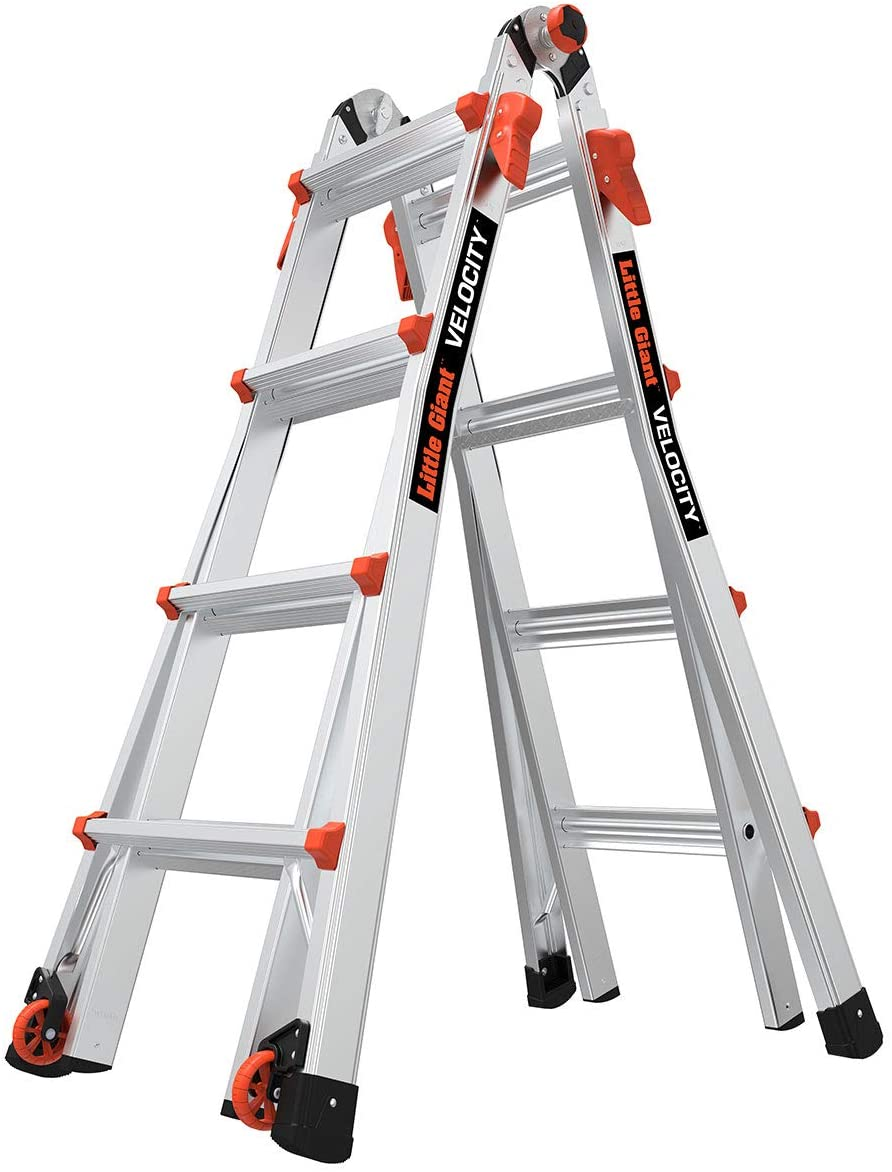 Little Giant Ladders, Velocity with Wheels, M17, 17 Ft, Multi-Position Ladder