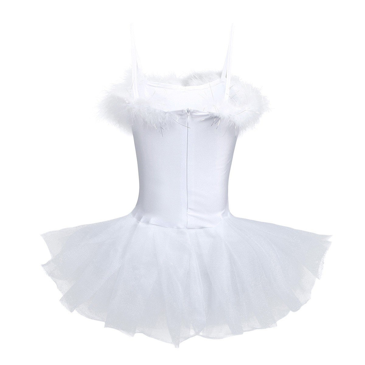 TiaoBug Girls Sequined Beads Swan Ballet Dance Leotard Spaghtetti Tutu  Dress Costume with Gloves Hair Clip White 4-5   Dance   Sports   Outdoors -  tibs 28a5ebce8132
