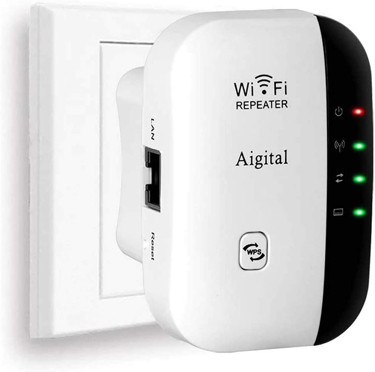 Aigital Extensor de Red WiFi, 300Mbps WiFi Repetidor WiFi Ap Amplificador Wireless Repeater Booster Wireless-N 2.4GHz Universal EU Enchufe (WPS)