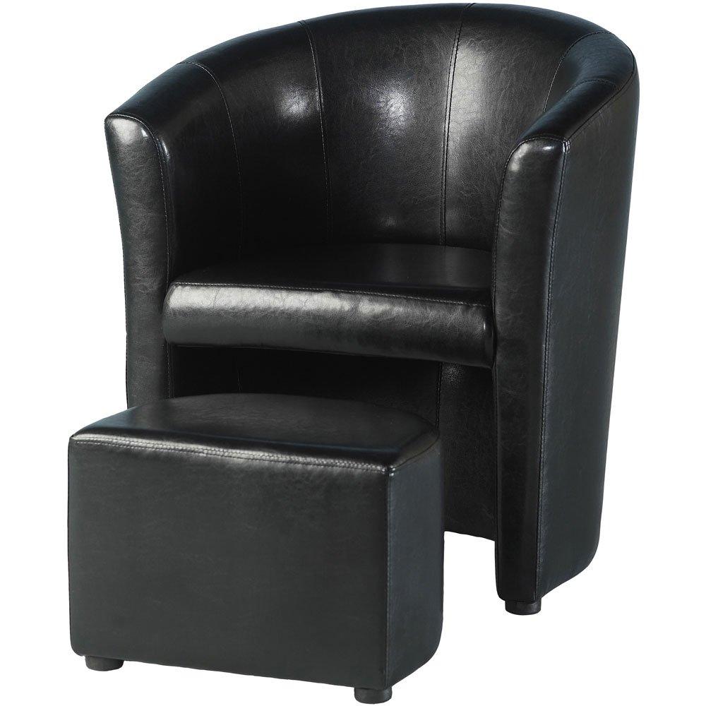 Seconique Tempo Tub Stuhl mit Fußbank schwarz