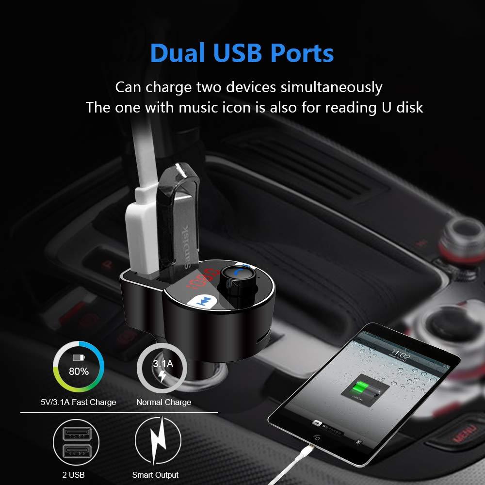 //Rilevamento di Tensione 64G FirstE FM Trasmettitore Bluetooth Car Radio Adapter,Car Audio Trasmettitore FM Modulatore Mani Libere Car Kit Supporto 5V 3.1A Dual USB Carica//USB//SD Card Play Aggiornato