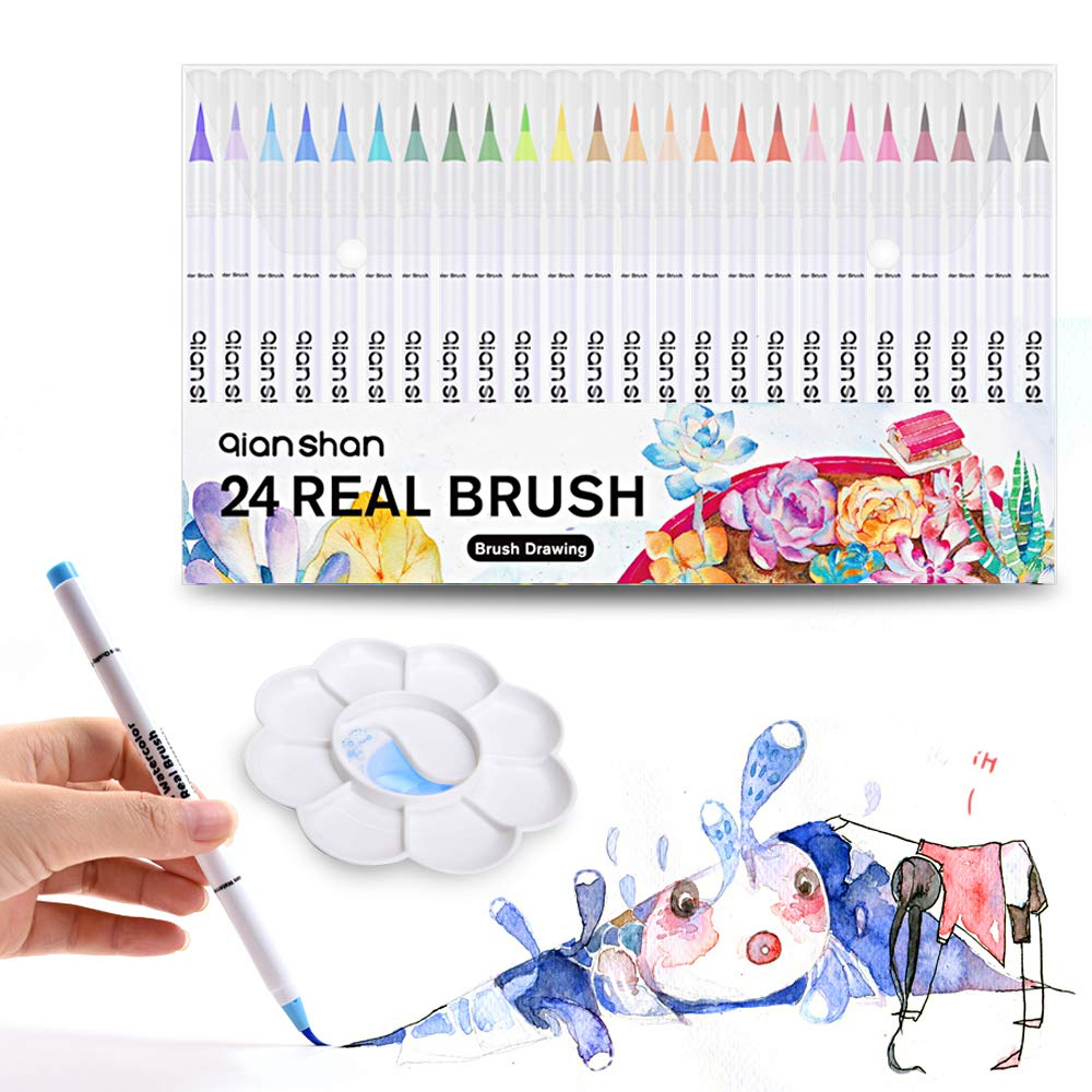 48 Colors Real Brush Markers with Palette - Soft Flexible Brush Tips, Professional Watercolor Brush Pens for Adult Coloring Books Painting Drawing Manga Sketching Calligraphy Writing qianshan