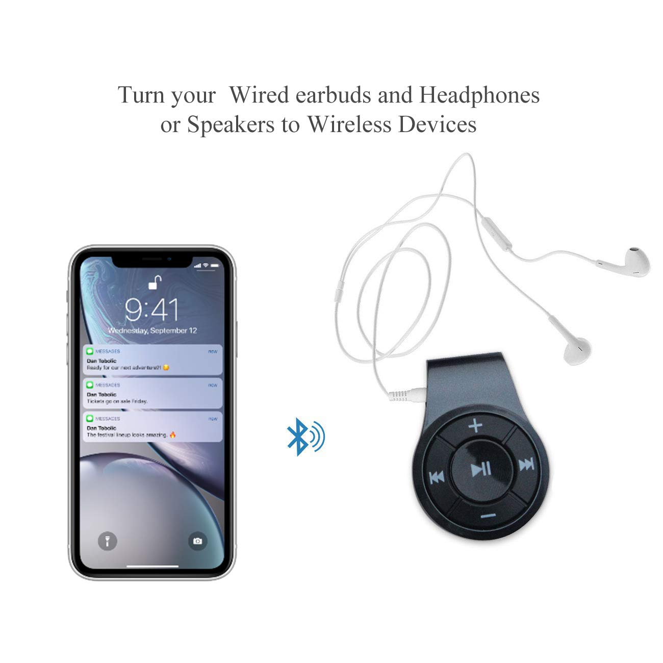 Bluetooth Receiver, Bluebyte Clip Bluetooth 4.1 Audio Receiver for Headphones with MIC for Hands-Free Calling and Music,Bluetooth Wireless Audio Adapter for Music Streaming Sound System.(Grey) by Bluebyte (Image #6)