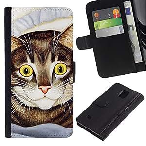 Billetera de Cuero Caso Titular de la tarjeta Carcasa Funda para Samsung Galaxy Note 4 SM-N910 / Cat Painting American Shorthair Happy / STRONG
