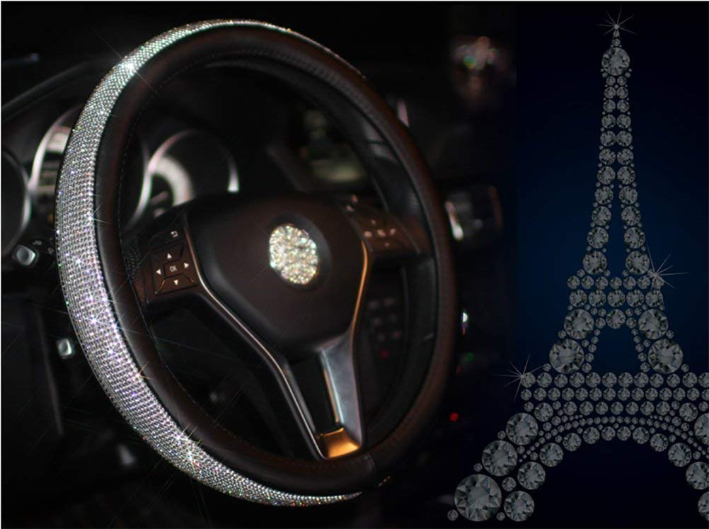 Yaopeing Bling Cover Cystal Steering Wheel Cover,with PU Leather Bling Bling Rhinestones,Black /& Silver