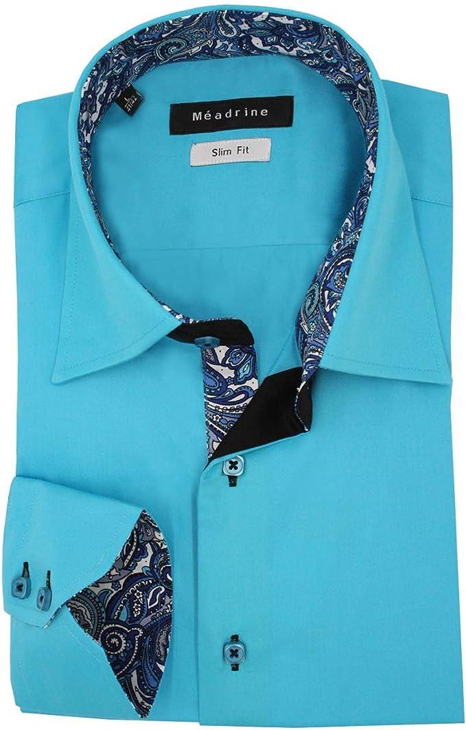 Meadrine equipados Camisa Turquesa 1 botón Negro Contraste guarniciones y Hombre de Cachemira Cuello Azul: Amazon.es: Ropa y accesorios