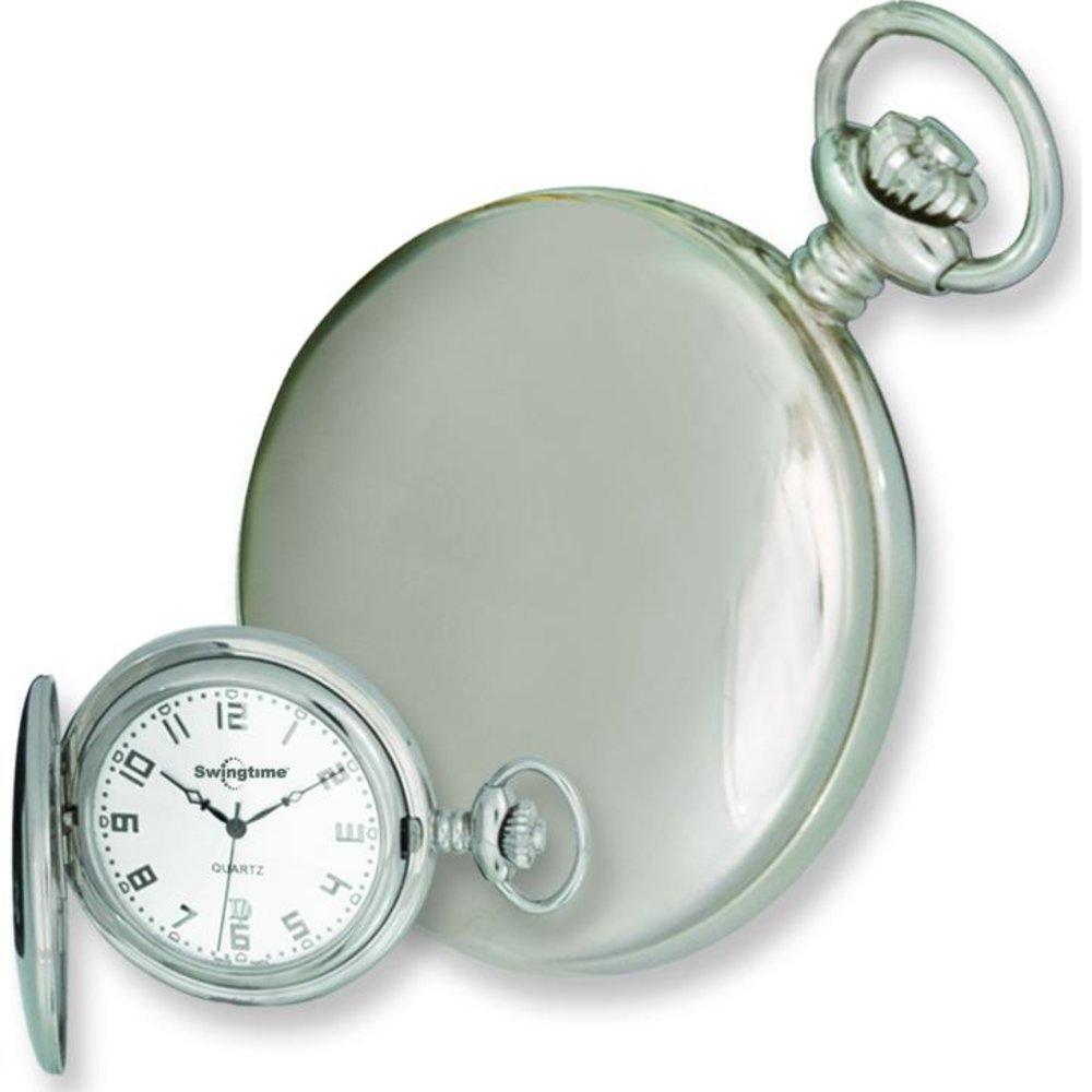 Swingtime Stainless Steel Quartz Pocket Watch & Chain