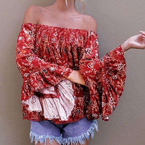 Masterein De hombro de encaje blusa camisa de las mujeres Tops Flor de verano mangas de volante de impresión ahueca hacia fuera blusas un color