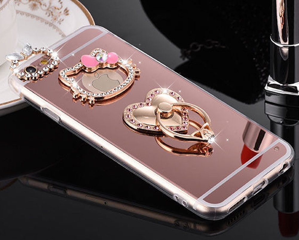for iPhone iPhone 8 Plus, Hello Kitty Mirror Luxury Fancy Bling Crystal Rhinestone Diamond Case Hard Cover with Ring Stand ~ Estuche Funda (Pink with ...