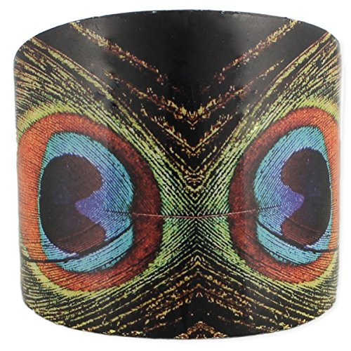 Simplily Co. New Peacock Tail Feather Wide Adjustable Cuff Bracelet (w/Gift Box) (Peacock) -