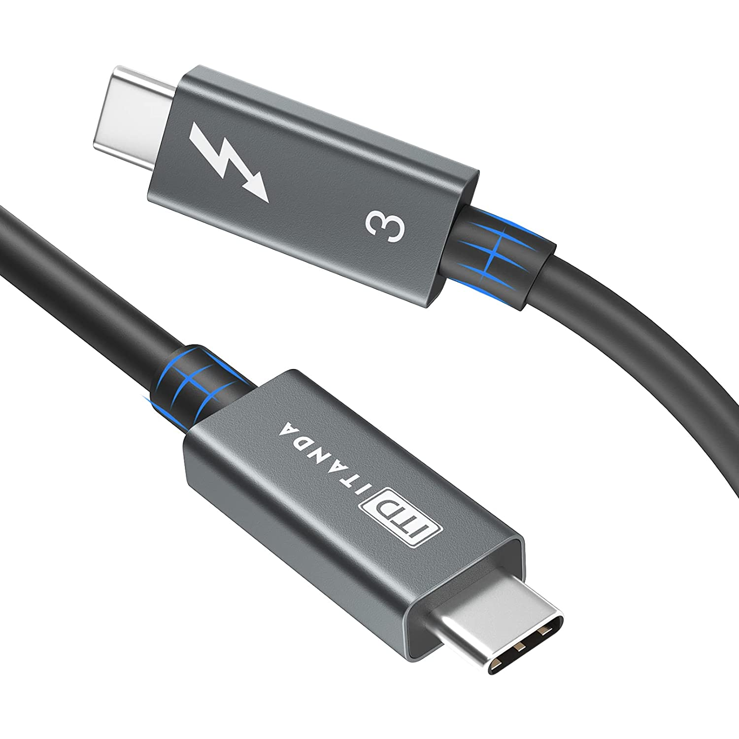 Thunderbolt 3 Cable 40 Gbps, ITD ITANDA USB C to USB C Cable with 100W Charging and 8K Video Display for Thunderbolt 3 Monitor/Hub/SSD/eGpu/USB-C Docking/Adapter/Pixel/iPad/Macbooks and More (2.3 ft)
