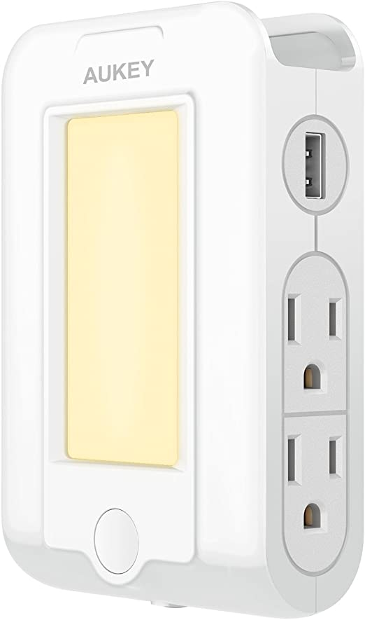 Aukey Usb Outlet With Night Light Plug In 300 Joules Surge Protection Wall Outlet With 2 Usb Charging Ports For Bedroom Hallway Bathroom And More