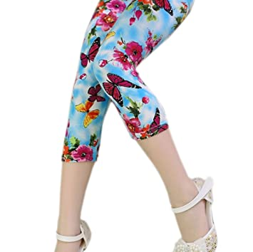 632bf2c521e309 Image Unavailable. Image not available for. Color: Kid Girls Pants Printing  Flower ...