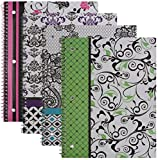Emraw Simply Black & White Notebook Spiral with 60 Sheets of Wide Ruled White Paper - Set Includes: Green, Purple, Pink & Turquoise Covers (4 Pack)