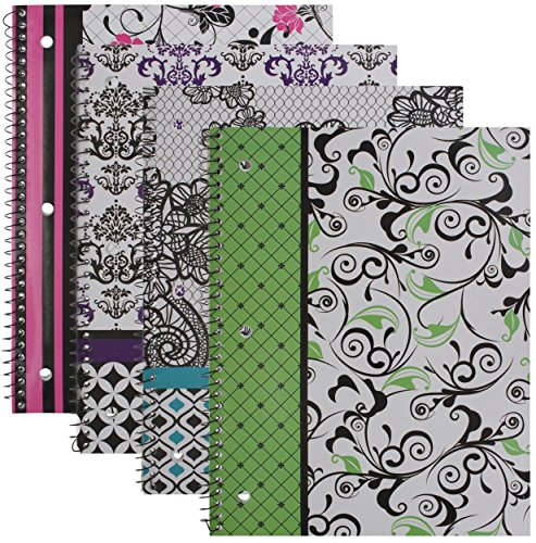 60 Sheet Spiral Notebook - Emraw Simply Black & White Notebook Spiral with 60 Sheets of Wide Ruled White Paper - Set Includes: Green, Purple, Pink & Turquoise Covers (4 Pack)