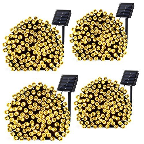 Price comparison product image Qedertek 4 Pack Solar String Lights,  72ft 200 LED Solar Lights Outdoor 8 Lighting Modes Waterproof Decorative Lights String for Home,  Patio,  Lawn,  Garden,  Wedding,  Party Decorations(Warm White)