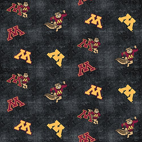 UNIVERSITY OF MINNESOTA FLANNEL FABRIC WITH DISTRESSED GROUND-MINNESOTA GOPHERS 100% COTTON FLANNEL FABRIC SOLD BY THE YARD