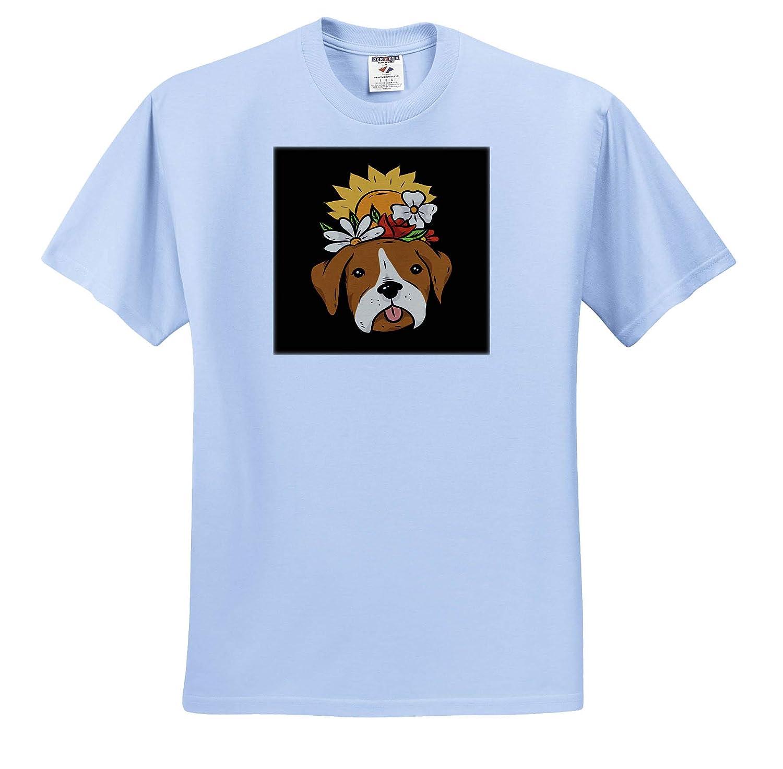 Funny Portrait Dog Pet with Sunflower Nature Blossom T-Shirts 3dRose Sven Herkenrath Dog