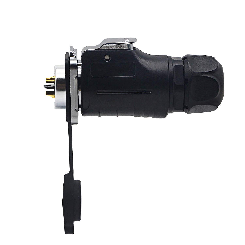 CERRXIAN CNLINKO Conector de soldadura de aviaci/ón impermeable para exteriores color negro conector de 2 pines
