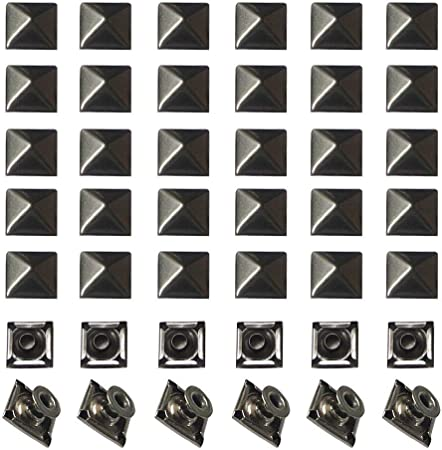 100 Pièces Rivets Pyramides 17 mm//Noir//rivets décoratifs Bricolage Gothique Punk