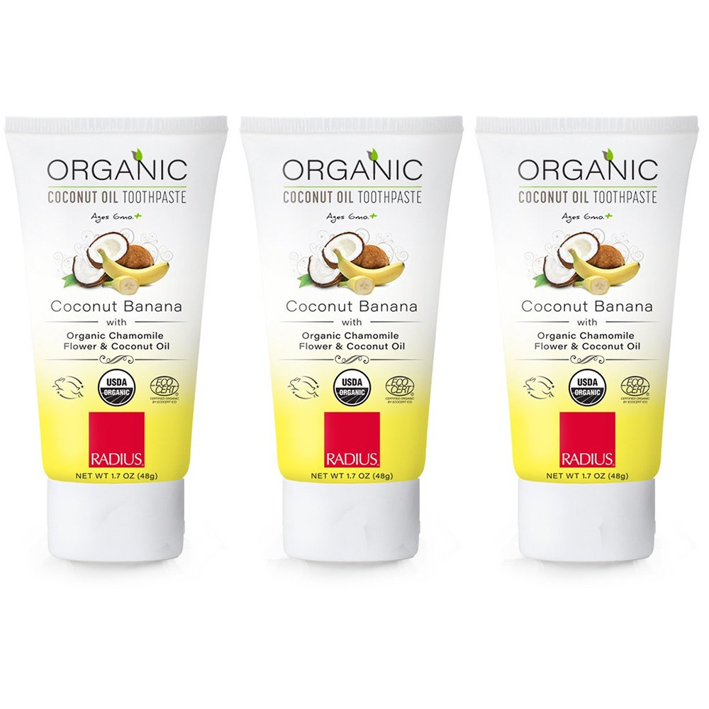 RADIUS Organic Toothpaste For Kids 6 Months and Older, Coconut Banana, 3 Count PST3-501