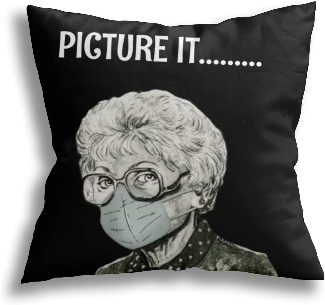 WINTERSUNNY Golden Girls Pillow Covers 18×18 Inch Cotton Home Decor Throw Pillow Cover for Cushion Sofa Couch Two Sides Printed Decorative Pillowcase Set of 1