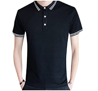 Winwinus Mens Comfort Oversized Short-Sleeve Cotton Thin Polo Shirts Black  XL 2fa07b5c9981