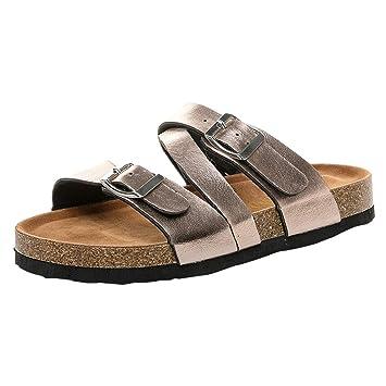 28d17e3c1dd3 Women Cork Sole Slippers Leopard Animal Print PVC Flat Strappy Sandals  Double Buckle Strap Slip on