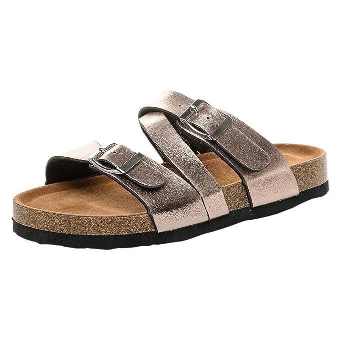 VECDY Moda Zapatillas Mujer Verano, Flip-Flop Zapatos Mujer Casual Correa De Hebilla Doble