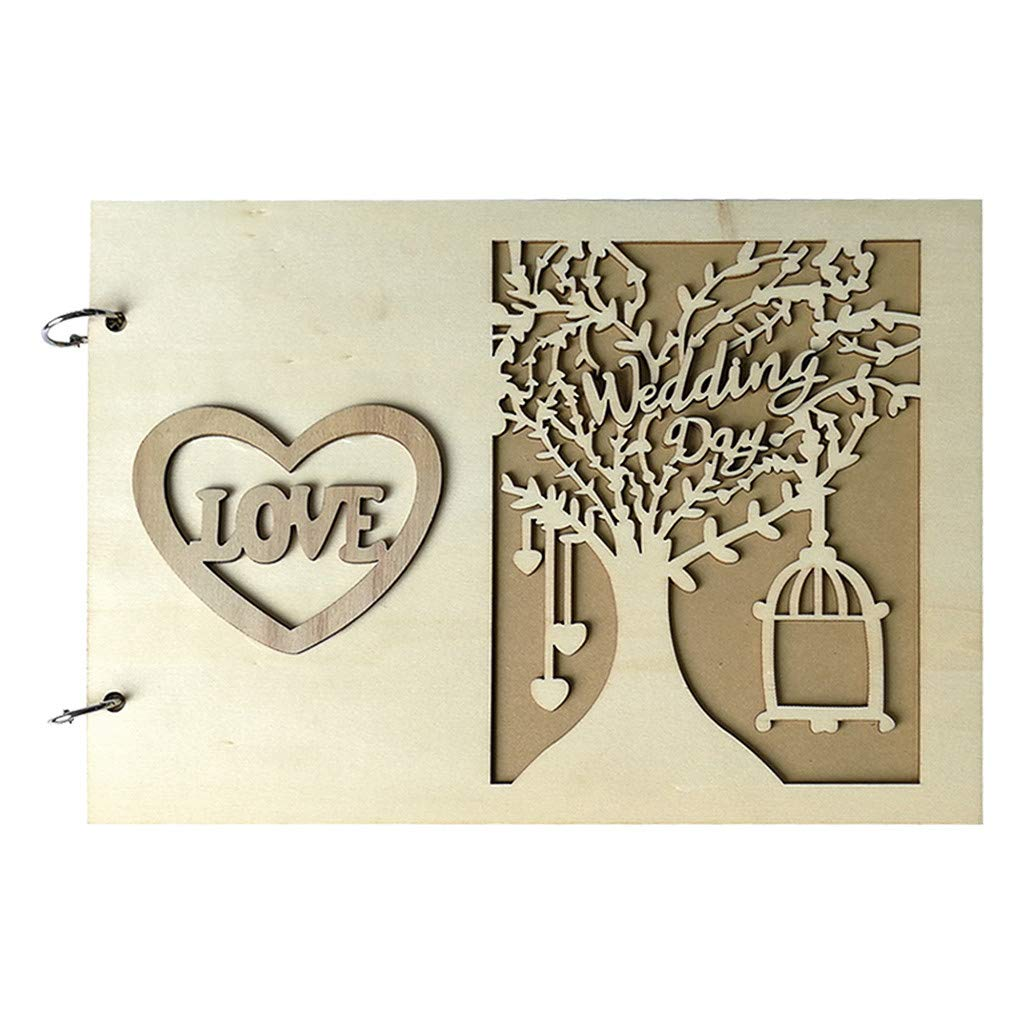 Wooden Guest Book Wedding Oksea 1Pcs Guest Book Memorable Simple Message Board Sign Book Gift for Wedding Party A