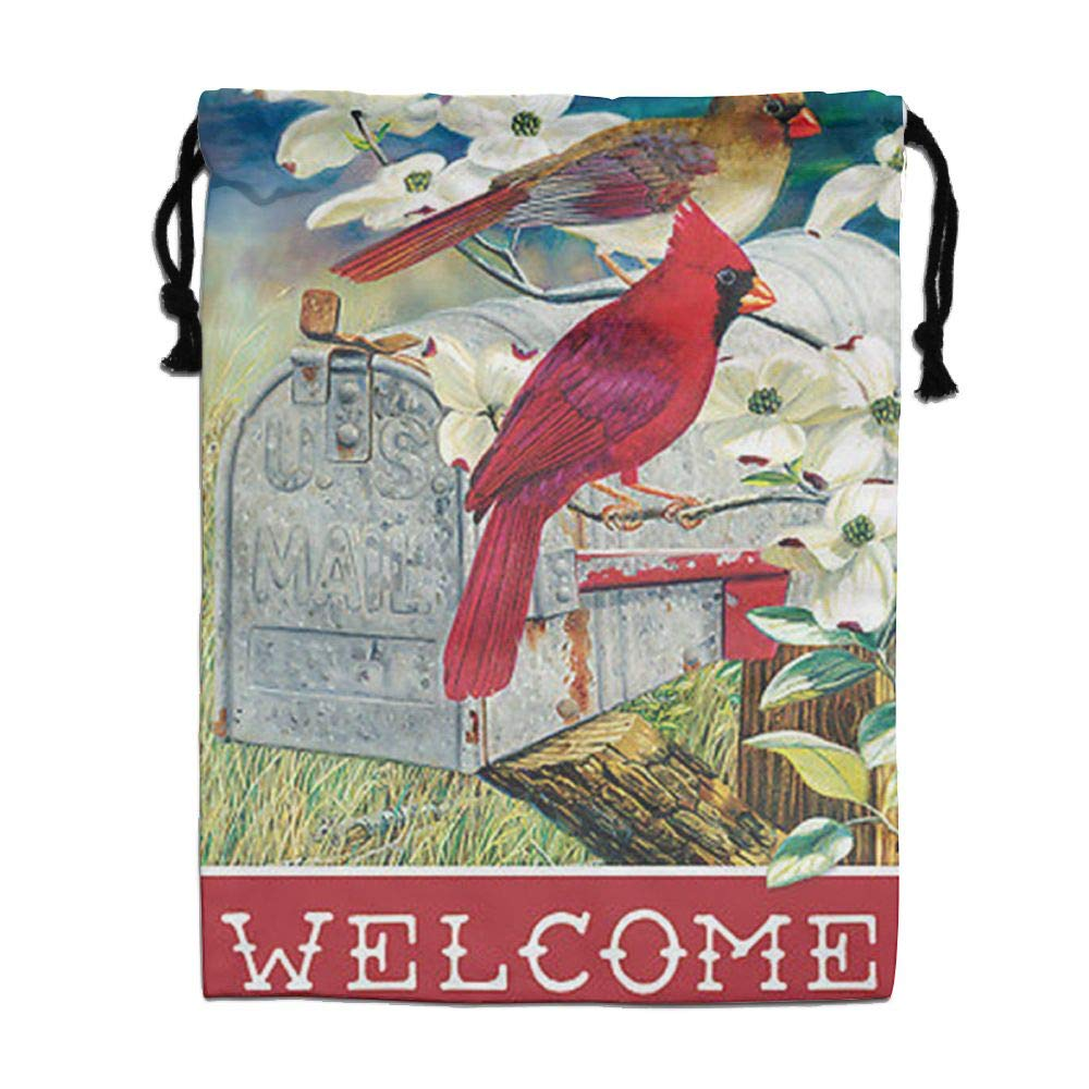 Custom Drawstring Bag,Red-Bird-Express-Welcome-Spring Holiday/Party/Christmas Tote Bag 15.7(H)x 11.8(W) in