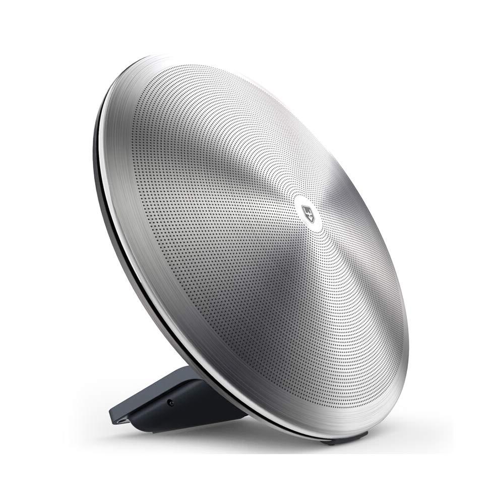 ユニークでレトロなデザインのシルバースチールホームワイヤレススピーカーポータブルBluetoothスピーカーラウンドブラケットタイプ3Dサラウンドサウンドスピーカー。   B07K7HQR1Q