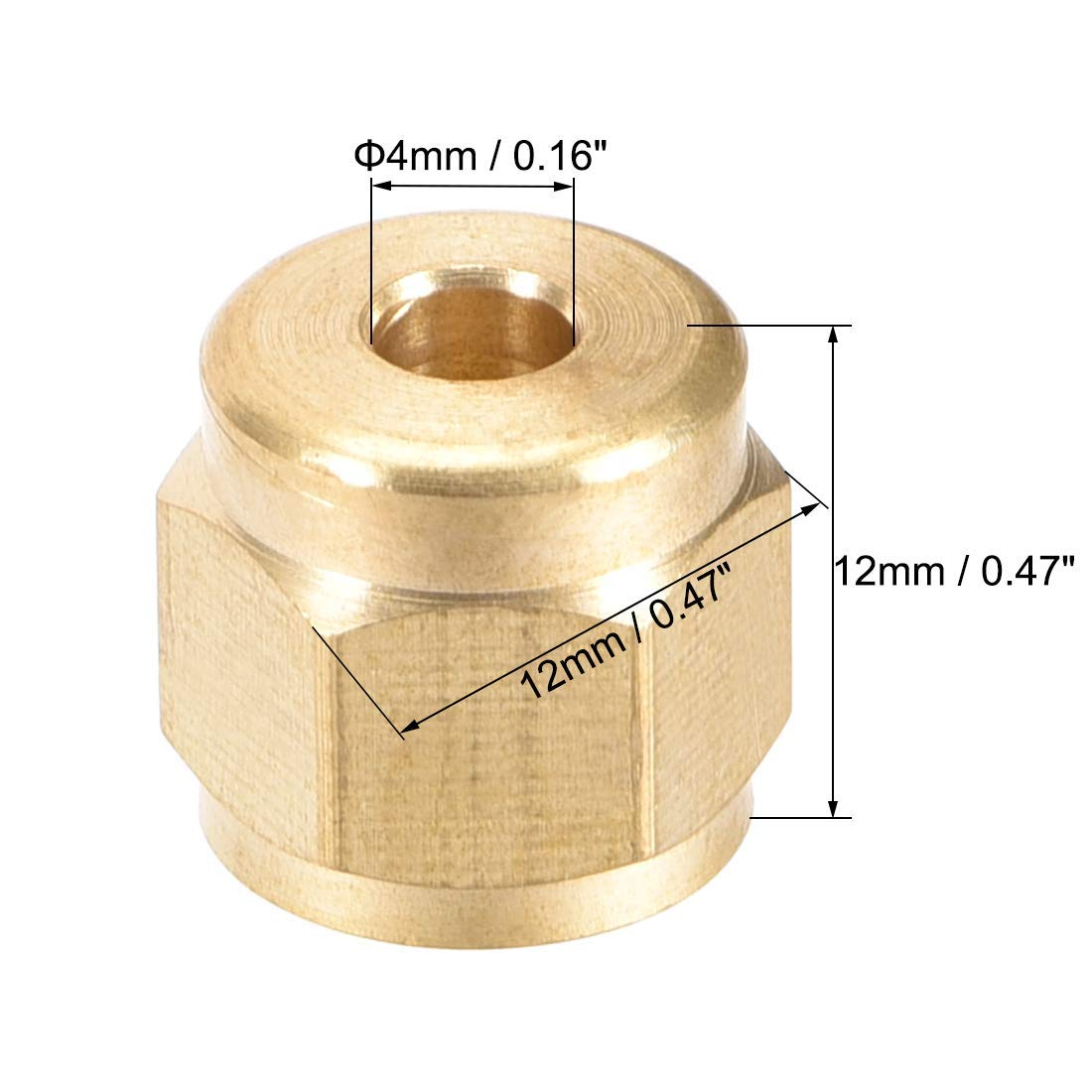 Brass Tube nut Tube Compression Adapter Hydraulic Nuts M10x4mm 8 Pieces