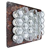 Gneiss Spice DIY Wall Hanging Magnetic Spice Rack (24 Small Jars, Gold Lids, 12x15 Rustic Plate)