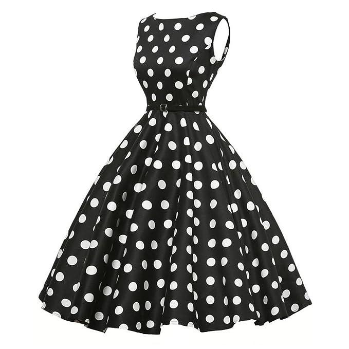 Yesmile 💋💝Vestido de Mujer Vintage Falda Negro Vestido Elegante de Noche para Boda Fiesta Vacaciones Vestido del Partido del Baile Ocasional Sin Mangas ...