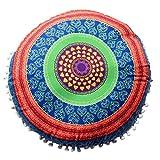 Yaseking Indian Mandala Pillows, Polyester Round Printed Bohemian Cushion Case with Flamingo for Living Room Sofa Bedroom Car (D)