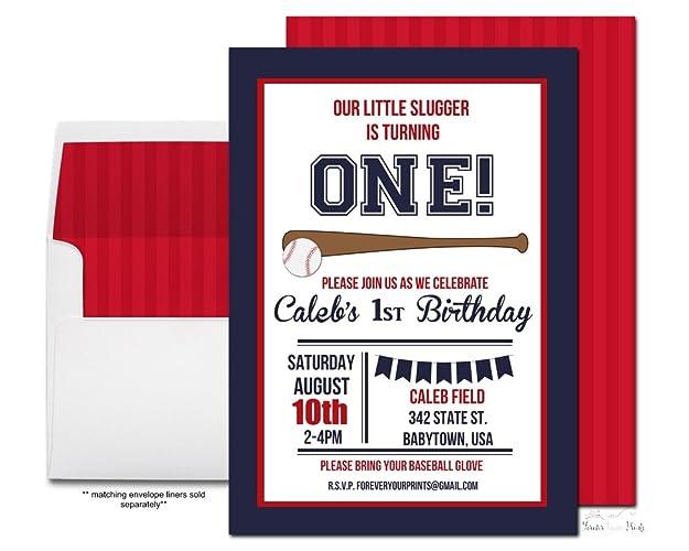 Boys Baseball Birthday Invitation Party Navy And Red