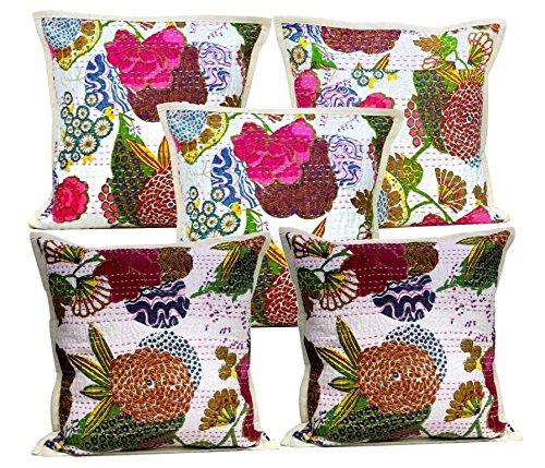 5Pcs-100Pcs Amazing India Kantha Stitch Floral Work White Home Decorative Cushion Covers Wholesale Lot by Amazingindiaonline