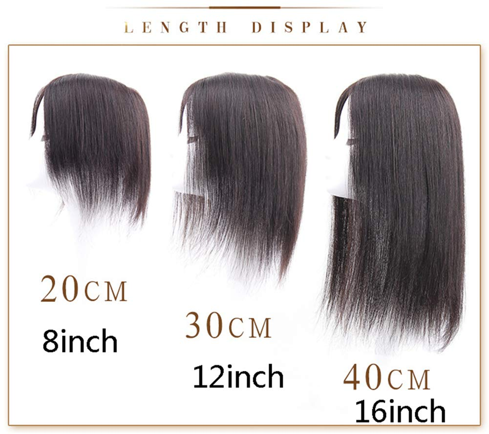 Free Parting Human Hair Clip in Toppers for Women, 6''x 6.7'' Large Mono Crown Topper Hairpieces for Thinning Hair, 16'' Dark Brown by Susanki (Image #7)