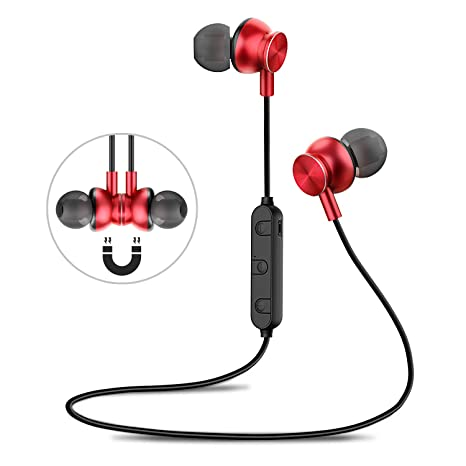Wireless Earbuds with HD Mic Bluetooth 4.2 and Secure Fit Noise Isolating Headsets Sweatproof in Ear Earphones for Running Gym Workout-Black Bluetooth Sport Headphones
