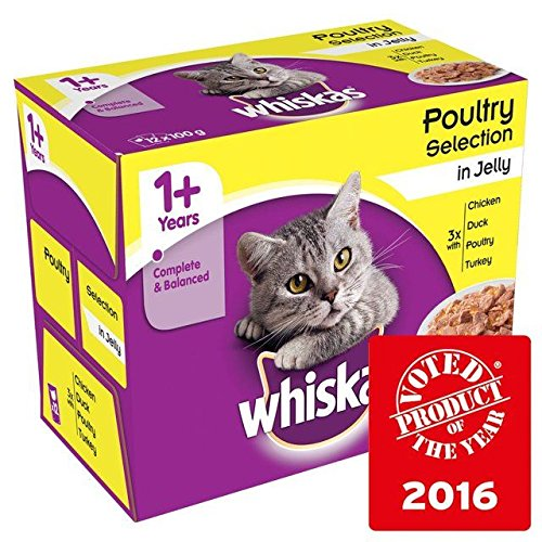 Whiskas 1+ Cat Pouches Poultry in Jelly 12 x 100g (Pack of 4) by Whiskas